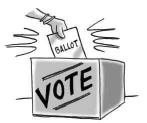 Hand casting a ballot.