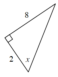 A right triangle with legs 2 and 8. Angle x opposite the side that is 8.