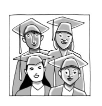 Four students at graduation.