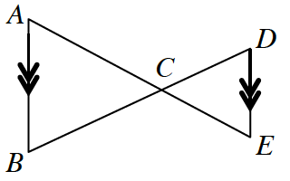 Vertical line segments, A, B, and D, E, are each marked with double arrows. Line segment, A, E, intersects line segment, D, B, at, C.