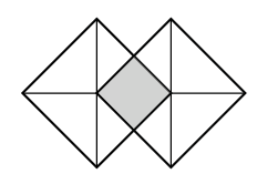Rotated square, with horizontal & vertical diagonals. Second square, rotated the same, has left vertex at center of first square, and right vertex of first square is at center of right square. the overlapping sections are shaded.