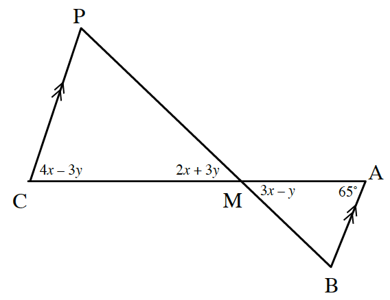 Line segment, p, b, intersects, line segment, c, a, at point, m, labeled as follows: Segments, p, c, & a, b, marked with double arrows, angle c, 4, x, minus 3, y, angle a, 65 degrees, angle p, m, c, 2, x, + 3, y, angle a, m, b, 3, x, minus, y.
