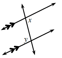 Transversal line crosses 2 horizontal parallel lines, with angles labeled as follows: upper intersection, interior right, x, bottom intersection, interior left, y.