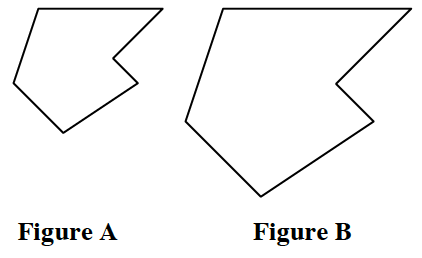 Two similar irregular hexagons labeled Figure A and Figure B.