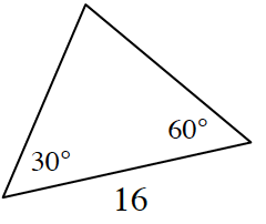 A triangle with a base of 16 with a 30 degrees angle and a 60 degrees angle on either side.