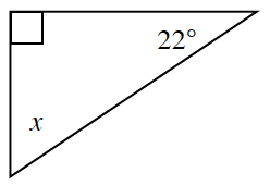 A right triangle with angles 90 degrees, 22 degrees, and x.