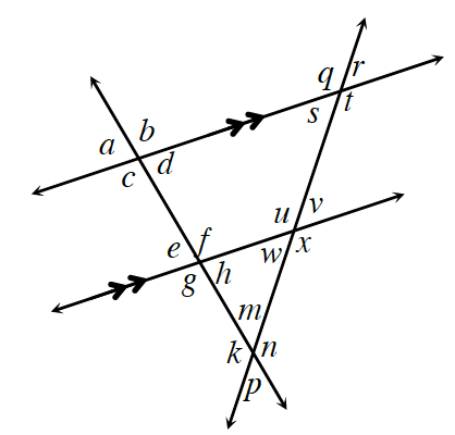 4 lines arranged as follows: horizontal lines, 1 & 2, are parallel, with 1 above 2, & lines 3 & 4, with 3 left of 4, crossing lines, 1 & 2, 3 & 4 intersect each other, below the parallel lines. Around the 5 points of intersection, angles are labeled as follows, starting in upper left and going clockwise: 1 & 3, a, b, d, c. 2 & 3: e, f, h, g.  1 & 4: q, r, t, s. 2 & 4: u, v, x, w. 3 & 4, starting at top, going clockwise, m, n, p, k.