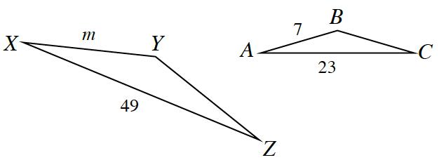 Triangle X, Y, Z, side X, Y, length m, Side X, Z, 49. Triangle A, B, C, side A, B, 7 side A, C, 23.