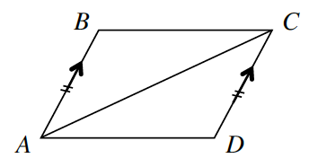 Quadrilateral A, B, C, D. Side A, B and side C, D are both marked with two tick marks and one arrow each.