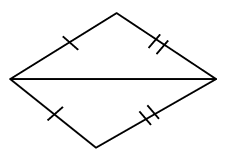 Two triangles sharing one side. One set of adjacent sides where the sides are in opposite triangles have 1 tick mark.  The other set has 2 tick marks.