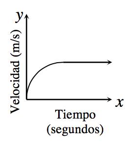 Gráfico en el primer cuadrante; eje x rotulado Tiempo en segundos, eje ye rotulado Velocidad en metros por segundo. Una línea curva que empieza en el origen se eleva abruptamente al principio, luego se eleva cada vez más gradualmente, convirtiéndose en una recta horizontal.