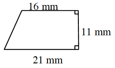 A trapezoid with horizontal parallel bases: bottom is 21 mm, and top is 16 mm. The right non parallel leg, which is perpendicular to both bases, is 11 mm.