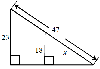 A right triangle, has hypotenuse labeled, x, and vertical leg, labeled, 18. The horizontal leg is extended, past the right angle, creating, a horizontal leg of a larger right triangle. The larger right triangle, has a vertical leg, labeled, 23, and hypotenuse, labeled, 47.