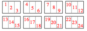 The sections are each numbered, from top left to bottom right, from 1 to 24.