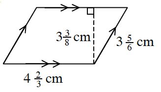4 sided polygon with opposite sides parallel, labeled as follows: Bottom side, 4 and 2 thirds cm. Right side, 3 and 5 sixths cm.  A line segment, from the bottom right vertex, to the top side, at a right angle, labeled 3 and 3 eights cm.