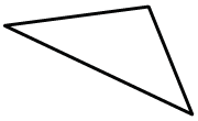 A triangle that appears to have no sides, the same length, and one angle wider, than 90 degrees.