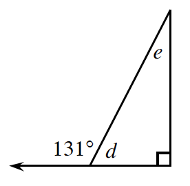 A right triangle has the non-right angles labeled d and e. The leg adjacent to angle d is extended creating an exterior angle of 131 degrees.