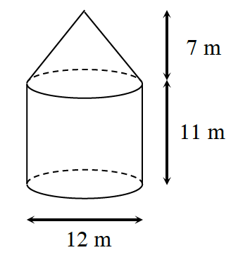 A cylinder with a cone resting on top. The diameter of the cylinder is 12 meters with a height of 11 meters. The height of the cone is 7 meters.