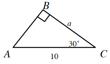 Right triangle, sides labeled as follows: vertical leg, b, c, is, a, hypotenuse, a, c, is 10. Angle, c, labeled, 30 degrees.