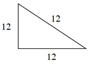 A triangle with 3 equal sides of 12.
