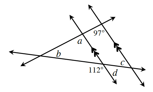Two rising parallel lines are cut by 2 transversals intersecting at the left side forming two triangles sharing a common vertex, angle, b. Angle, a, is the bottom, left where the top transversal & left parallel line meet.  97 degrees, is the bottom, left where the same line & right parallel line meet. About the bottom transversal & the left parallel line is the left, bottom angle, 112 degrees, & the right, bottom angle, d. About the same line & the right parallel line is the left, top angle, c.