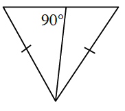 A triangle with a line drawn from the top vertex to the base. The left angle the line creates with the base is 90 degrees. The triangle's long sides are both marked with one tick mark.