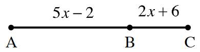 A line segment, AC, is divided into 2 sections with dividing point, B, and c. The section, A B, is labeled, 5 x minus 2. The section, BC, is labeled, 2 x + 6.