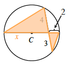 Added to the circle, segments connecting each end of the diameter with an end of the chord, creating 2 triangles, with the unknown portion of the diameter labeled as x.