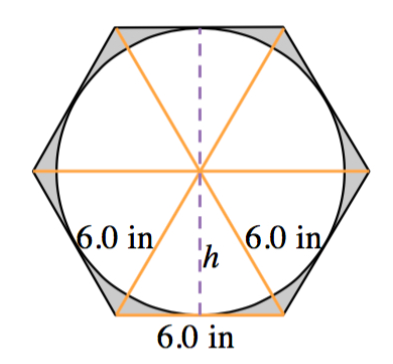 By connecting opposite vertices, the hexagon is divided into 6 equilateral triangles, with the sides of the equilateral triangles labeled, 6 inches. A dashed line from the middle of one side to the middle of the opposite side is labeled, h.