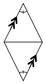 A four sided polygon, shaped like a diamond, with a horizontal segment, connecting the left vertex, to the right vertex, labeled as follows: upper left, & lower right sides, each has 2 arrows, bottom angle, & top angle, each has 1 tick mark.