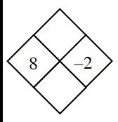 Problema de diamante. Izquierda, 8; derecha, menos 2; arriba, en blanco; abajo, en blanco.