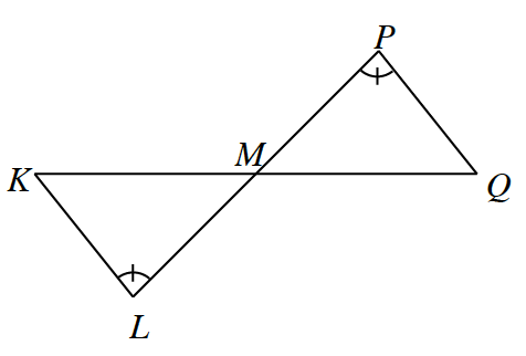 Two line segments, K, Q and P, L intersect at point, M, forming two triangles, K, M, L, and M, P, Q. Angles P and L each have 1 tick mark.