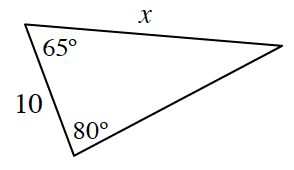 Triangle, top side labeled, x, left side labeled, 10, left top angle labeled 65 degrees, bottom angle labeled 80 degrees.