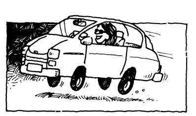 Women driving car.