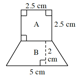 A trapezoid, labeled B, with horizontal parallel sides and a square, labeled A, shares its bottom side with the top side of the trapezoid. A, has 3 angles labeled as right, with top and right sides, labeled 2.5 centimeters. Bottom parallel side, on B, labeled, 5 centimeters. A dashed line, connecting the two parallel sides, at a right angle, labeled 2 cm.