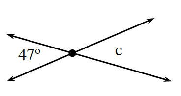 Two lines intersect at a point creating 4 angles about the point of intersection, with angles labeled as follows: Left, 47 degrees. Right, c.