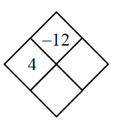 Diamond Problem. Left 4,  Right blank, Top negative 12, Bottom blank