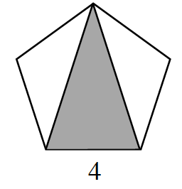A pentagon with the vertices labeled B, C, M, A, and N starting at the lower left vertex and going counter clockwise. B, C, is 4. Two diagonals are drawn: B, A, and C, A. The triangle A, B, C, is shaded.