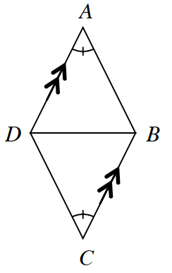 The triangles, A, B, D & D, B, C with a base, D, B, in common. The angle opposite D, B has 1 tick mark for both triangles. Sides D, A and C, B are parallel.