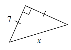 A right triangle with both legs, a length of 7. The hypotenuse has a length of X.