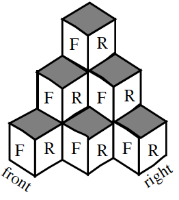 Stacks of cubes, with the front, right, and top sides visible, arranged as follows: To the right, and in front of, a stack of 3 cubes, is a stack of 2 cubes. To the right of the right stack of 2, is 1 cube. In front of the front stack of 2, is 1 cube. To the right, of the front stack of 2, and also to the left of the right stack of 2, is 1 cube.