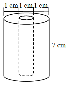 A 3 centimeter cylinder with a height of 7 centimeters has 1 centimeter diameter cylinder drilled out of the center of the larger cylinder.