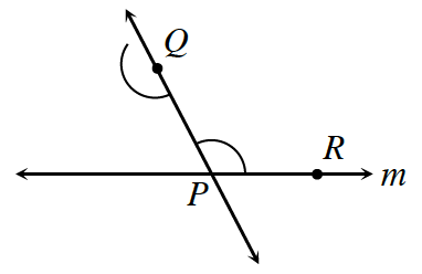 A line going through points, Q and P is intersected by the line m at P. There is a point R on line, m, at the right of P. Angle R, P, Q, is marked as well as the straight angle about Q.