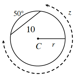 Circle with center, C, radius labeled, r, and chord labeled, 10. Minor Arc intercepted by chord, labeled 50 degrees. Major arc labeled, z.