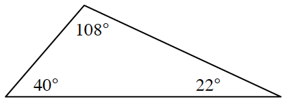 Triangle with angles labeled as follows: top, 108 degrees, right bottom, 22 degrees, left bottom, 40 degrees.
