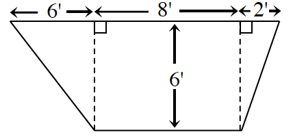 A trapezoid with parallel horizontal bases (in feet). The trapezoid is split into 3 internal parts with an 8 by 6 rectangle in the middle and two triangles one on either side of the rectangle. The base of one of the triangles is 6 and the other 2.