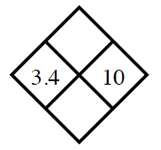 Diamond Problem. Left 3.4, Right 10, Top blank,  Bottom blank
