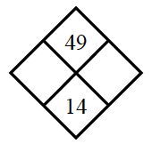 Diamond Problem. Left blank, Right blank, Top 49,  Bottom 14