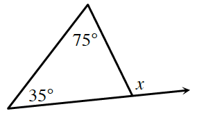 A triangle has a base angle of, 35 degrees on the left, and a top angle of, 75 degrees. The side opposite 75 degrees, is extended to the right, creating an exterior angle labeled, x.