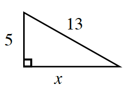A right triangle labeled as follows: legs, 5, and x, hypotenuse, 13.